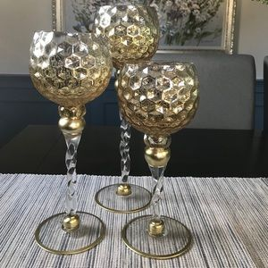 3 Glass Candle Holders.